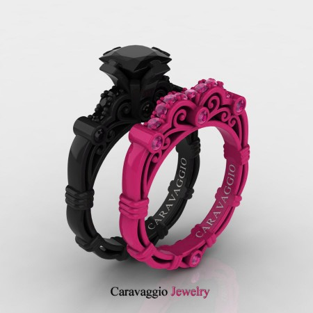 Caravaggio-London-14K-Black-and-Red-Gold-1-25-Carat-Princess-Black-Diamond-Ruby-Engagement-Ring-Wedding-Band-Set-R623PS2-14KBREGRBD-P