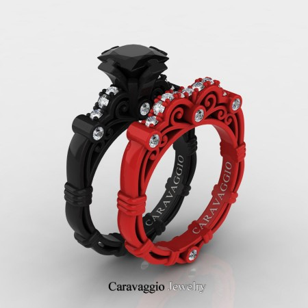Caravaggio-London-14K-Black-and-Red-Gold-1-25-Carat-Princess-Black-and-White-Diamond-Engagement-Ring-Wedding-Band-Set-R623PS-14KBREGDBD-P