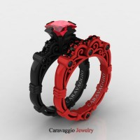 London Exclusive Caravaggio 14K Black and Red Gold 1.25 Ct Princess Ruby Black Diamond Engagement Ring Wedding Band Set R623PS-14KBREGBDR