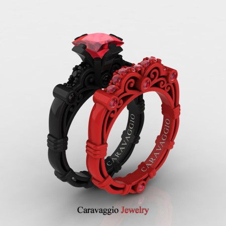 Caravagio-London-14K-Black-and-Red-Gold-1-25-Carat-Princess-Ruby-Black-Diamond-Engagement-Ring-Wedding-Band-Set-R623PS2-14KBREGBDR-P