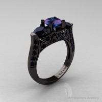 Modern 14K Black Gold Three Stone Alexandrite Black Diamond Solitaire Engagement Ring Wedding Ring R250-14KBGBDAL