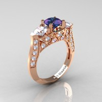 Modern 14K Rose Gold Three Stone Alexandrite CZ Diamond Solitaire Engagement Ring Wedding Ring R250-14KRGDAL