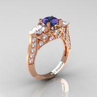 Modern 14K Rose Gold Three Stone Alexandrite CZ Diamond Solitaire Engagement Ring Wedding Ring R250-14KRGDAL