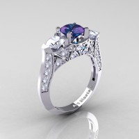 Modern 14K White Gold Three Stone Alexandrite CZ Diamond Solitaire Engagement Ring Wedding Ring R250-14KWGDAL