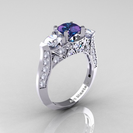 Modern-White-Gold-Three-Stone-Russian-Alexandrite-CZ-Diamond-Solitaire-Ring-R250-14KWGDAL-P