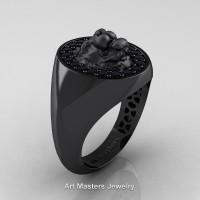 Classic Victorian 14K Black Gold Black Diamond Halo Cluster Lioness Signet Wedding Ring R868F-14KBGBD