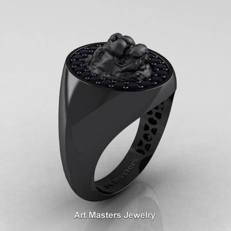 Royal-Victorian-14K-Black-Gold-Black-Diamond-Halo-Cluster-Lioness-Signet-Wedding-Ring-R868F-14KBGBD-P