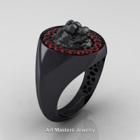 Classic Victorian 14K Black Gold Ruby Halo Cluster Lioness Signet Wedding Ring R868F-14KBGR