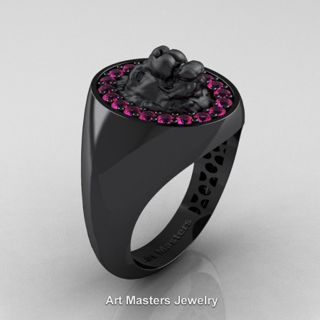 Royal-Victorian-14K-Black-Gold-Pink-Sapphire-Halo-Cluster-Lioness-Signet-Wedding-Ring-R868F-14KBGPS-P