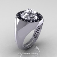 Classic Victorian 14K White Gold Black Diamond Halo Cluster Lioness Signet Wedding Ring R868F-14KWGBD