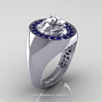 Classic Victorian 14K White Gold Blue Sapphire Halo Cluster Lioness Signet Wedding Ring R868F-14KWGBS