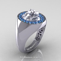 Classic Victorian 14K White Gold Blue Topaz Halo Cluster Lioness Signet Wedding Ring R868F-14KWGBT