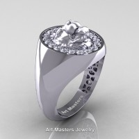 Classic Victorian 14K White Gold Diamond Halo Cluster Lioness Signet Wedding Ring R868F-14KWGD