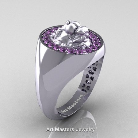 Royal-Victorian-14K-White-Gold-Light-Lilac-Amethyst-Halo-Cluster-Lioness-Signet-Wedding-Ring-R868F-14KWGLAM-P