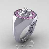 Classic Victorian 14K White Gold Light Pink Sapphire Halo Cluster Lioness Signet Wedding Ring R868F-14KWGLPS