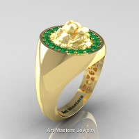 Classic Victorian 14K Yellow Gold Emerald Halo Cluster Lioness Signet Wedding Ring R868F-14KYGEM