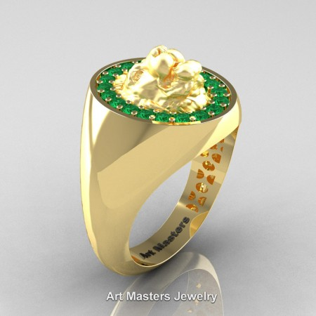 Royal-Victorian-14K-Yellow-Gold-Emerald-Halo-Cluster-Lioness-Signet-Wedding-Ring-R868F-14KYGEM-P