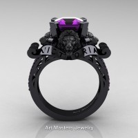 Victorian 14K Black Gold 3.0 Ct Asscher Cut Amethyst Landseer Lion Engagement Ring R867LE-14KBGAM