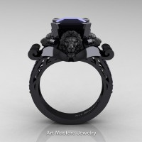 Victorian 14K Black Gold 3.0 Ct Asscher Cut Black Diamond Landseer Lion Engagement Ring R867-14KBGBD