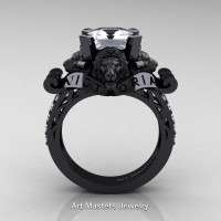 Victorian 14K Black Gold 3.0 Ct Asscher Cut Simulated Diamond Cubic Zirconia Landseer Lion Engagement Ring R867LE-14KBGSCZ
