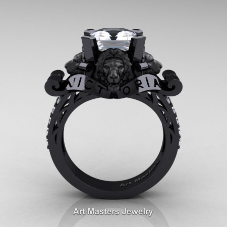 Victorian-14K-Black-Gold-3-0-Carat-Asscher-Cut-White-Sapphire-Diamond-Landseer-Lion-Engagement-Ring-R867LE-14KBGDWS-F