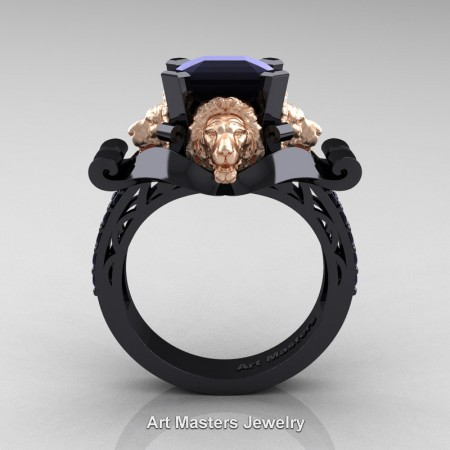 Victorian-14K-Black-and-Rose-Gold-3-0-Carat-Asscher-Cut-Black-Diamond-Landseer-Lion-Engagement-Ring-R867LE-14KBRGBD-F