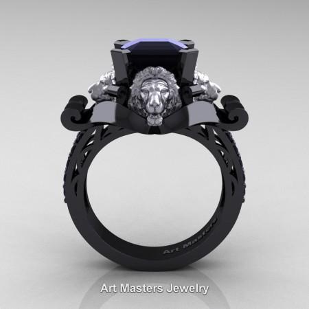 Victorian-14K-Black-and-White-Gold-3-0-Carat-Asscher-Cut-Black-Diamond-Landseer-Lion-Engagement-Ring-R867-14KBWGBD-F