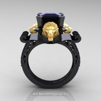 Royal Victorian 14K Black and Yellow Gold 3.0 Ct Asscher Cut Black Diamond Landseer Lion Engagement Ring R867-14KBYGBD