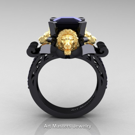 Victorian-14K-Black-and-Yellow-Gold-3-0-Carat-Asscher-Cut-Black-Diamond-Landseer-Lion-Engagement-Ring-R867LE-14KBYGBD-F