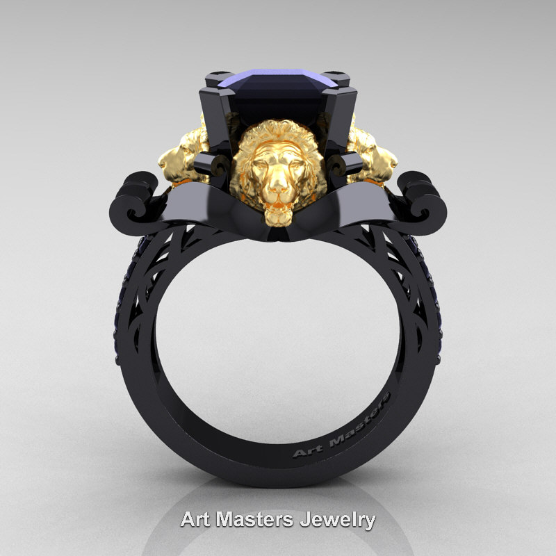 Royal Victorian 14k Black And Yellow Gold 3 0 Ct Asscher