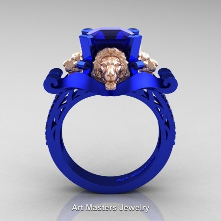 Victorian-14K-Blue-Rose-Gold-3-0-Carat-Asscher-Cut-Blue-Sapphire-Landseer-Lion-Engagement-Ring-R867LE-14KBLRGBS-F