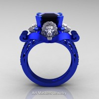 Royal Victorian 14K Blue and White Gold 3.0 Ct Asscher Cut Black Diamond Landseer Lion Engagement Ring R867-14KBLWGBD