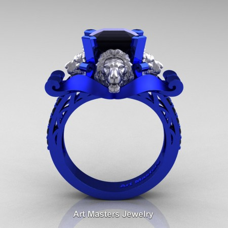 Victorian-14K-Blue-White-Gold-3-0-Carat-Asscher-Cut-Black-Diamond-Landseer-Lion-Engagement-Ring-R867LE-14KBLWGBD-F