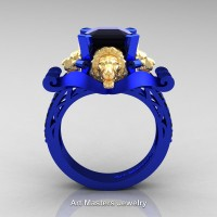 Royal Victorian 14K Blue and Yellow Gold 3.0 Ct Asscher Cut Black Diamond Landseer Lion Engagement Ring R867-14KBLYGBD