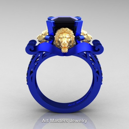 Victorian-14K-Blue-and-Yellow-Gold-3-0-Carat-Asscher-Cut-Black-Diamond-Landseer-Lion-Engagement-Ring-R867LE-14KBLYGBD-F