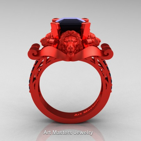 Victorian-14K-Red-Gold-3-0-Carat-Asscher-Cut-Black-Diamond-Landseer-Lion-Engagement-Ring-R867LE-14KREGBD-F
