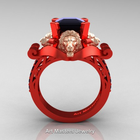 Victorian-14K-Red-and-Rose-Gold-3-0-Carat-Asscher-Cut-Black-Diamond-Landseer-Lion-Engagement-Ring-R867LE-14KRERGBD-F