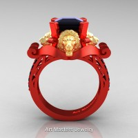 Royal Victorian 14K Red and Yellow Gold 3.0 Ct Asscher Cut Black Diamond Landseer Lion Engagement Ring R867-14KREYGBD