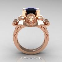 Victorian 14K Rose Gold 3.0 Ct Asscher Cut Black and White Diamond Landseer Lion Engagement Ring R867-14KRGDBD