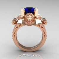 Victorian 14K Rose Gold 3.0 Ct Asscher Cut Blue Sapphire Diamond Landseer Lion Engagement Ring R867-14KRGDBS