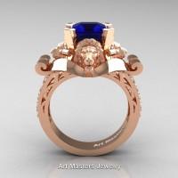 Victorian 14K Rose Gold 3.0 Ct Asscher Cut Blue Sapphire Diamond Landseer Lion Engagement Ring R867-14KRGDBS