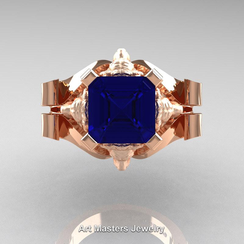 Victorian 14k Rose Gold 3 0 Ct Asscher Cut Blue Sapphire Diamond Landseer Lion