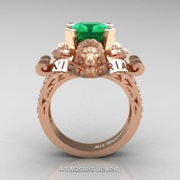 Victorian 14K Rose Gold 3.0 Ct Asscher Cut Emerald Diamond Landseer Lion Engagement Ring R867LE-14KRGDEM