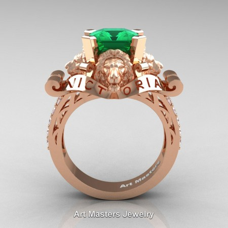 Victorian-14K-Rose-Gold-3-0-Carat-Asscher-Cut-Emerald-Diamond-Landseer-Lion-Engagement-Ring-R867LE-14KRGDEM-F