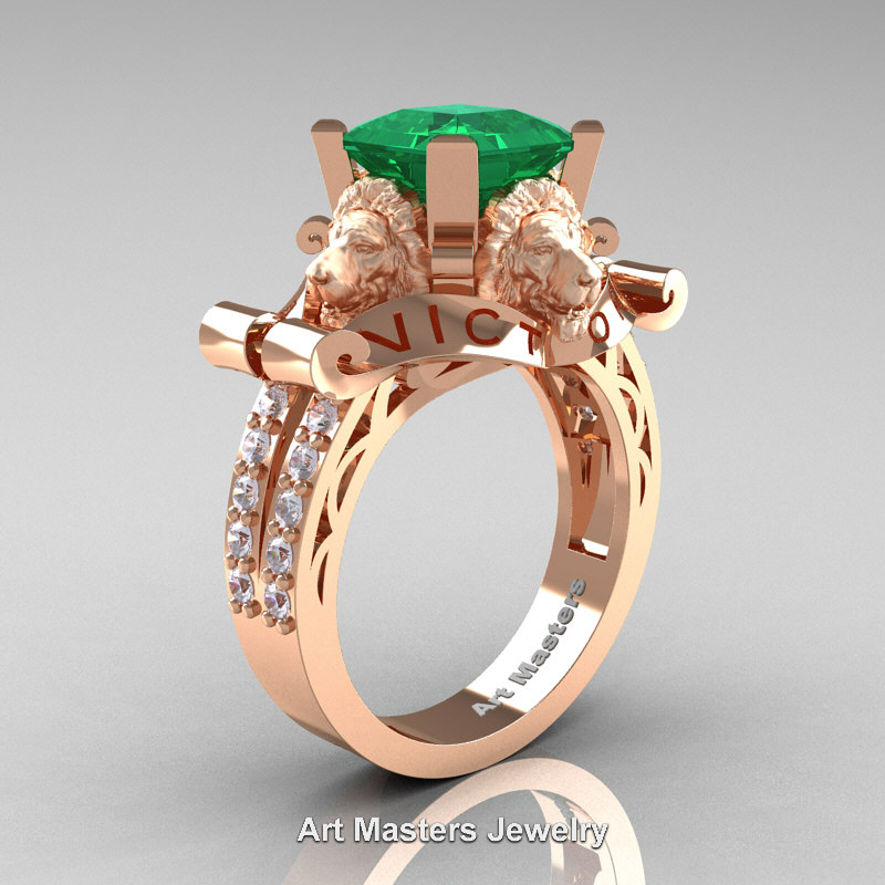Victorian 14k Rose Gold 3 0 Ct Asscher Cut Emerald Diamond