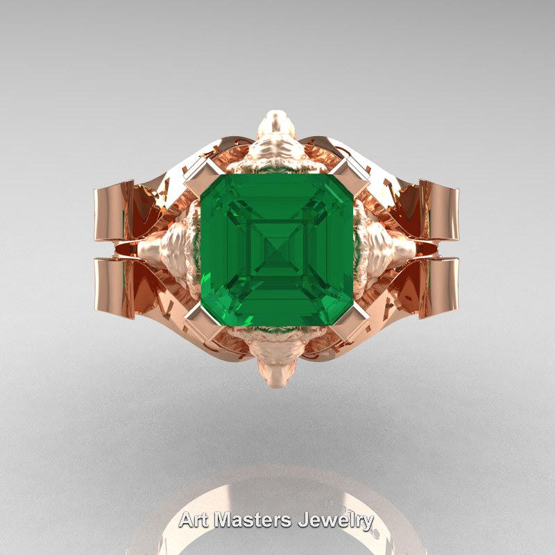 Victorian 14K Rose Gold 3 0 Ct Asscher Cut Emerald Diamond