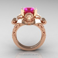 Victorian 14K Rose Gold 3.0 Ct Asscher Cut Pink Sapphire Diamond Landseer Lion Engagement Ring R867-14KRGDPS
