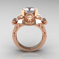 Victorian 14K Rose Gold 3.0 Ct Asscher Cut White Sapphire Diamond Landseer Lion Engagement Ring R867-14KRGDWS