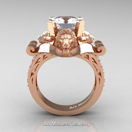 Victorian-14K-Rose-Gold-3-0-Carat-Asscher-Cut-White-Sapphire-Diamond-Landseer-Lion-Engagement-Ring-R867-14KRGDWS-F