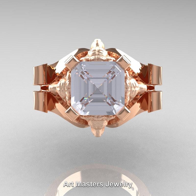Victorian 14k Rose Gold 3 0 Ct Asscher Cut White Sapphire